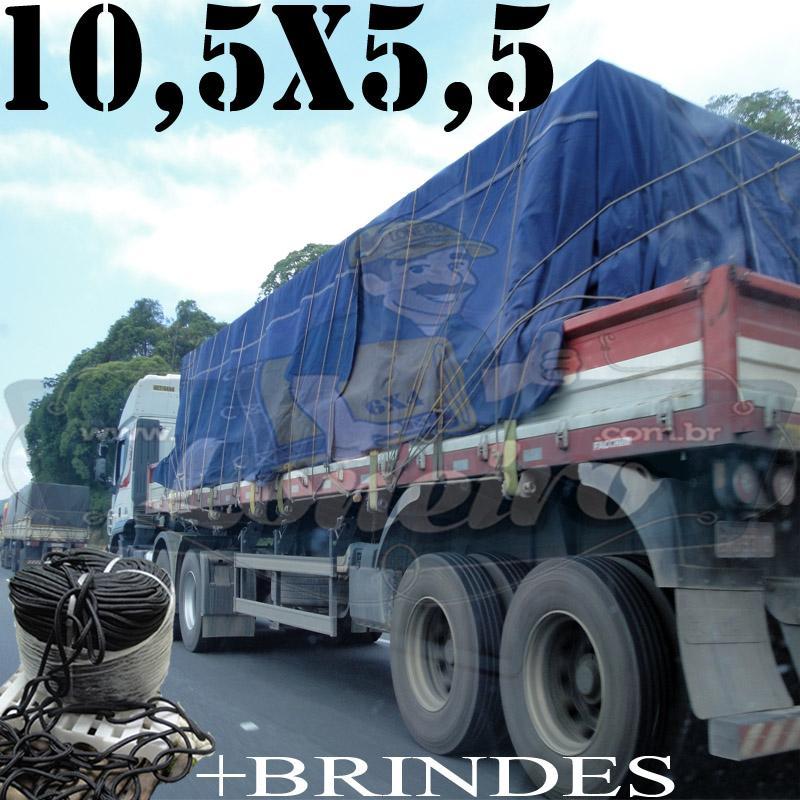 Lona: 10,5 x 5,5m Cotton Encerado RipStop Algodão Azul Caminhão Triminhão + Corda Preta 60m 10mm + 60m Corda 8mm com 1 ROW 0,75m