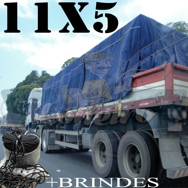 Lona: 11,0 x 5,0m Encerado RipStop Coton Algodão Azul + Corda Preta 60m Poliéster Estática 10mm + 60m Corda 8mm com 1 ROW 0,75m