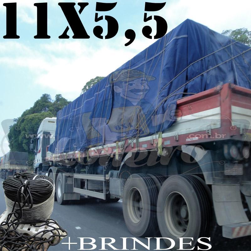 Lona: 11,0 x 5,5m Cotton Encerado RipStop Algodão Azul + 60 metros Corda 8mm com 1 ROW 0,75m