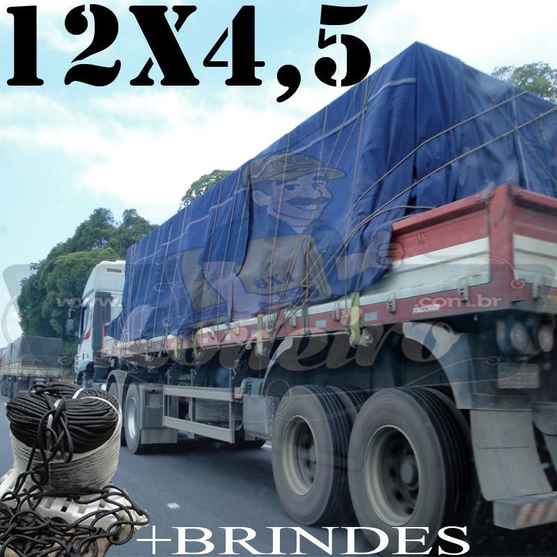 Lona: 12,0 x 4,5m Cotton Encerado RipStop Algodão Azul + 50 metros Corda 8mm com 1 ROW 0,75m
