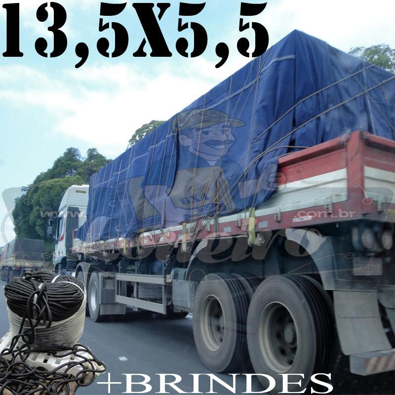Lona: 13,5 x 5,5m Cotton Encerado RipStop Algodão Azul + Corda Preta 70m Poliéster Estática 10mm + 70m Corda 8mm com 1 ROW 0,75m