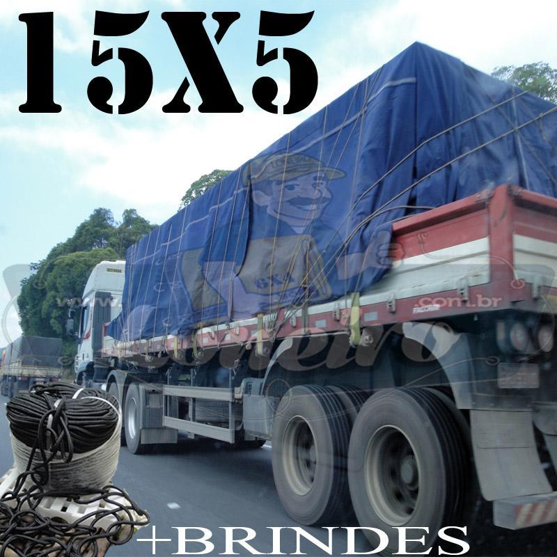 Lona: 15,0 x 5,0m Cotton Encerado RipStop Algodão para Caminhão Carreta 3 eixos +Corda Preta 70m 10mm + 70m Corda 8mm com 1 ROW 0,75m