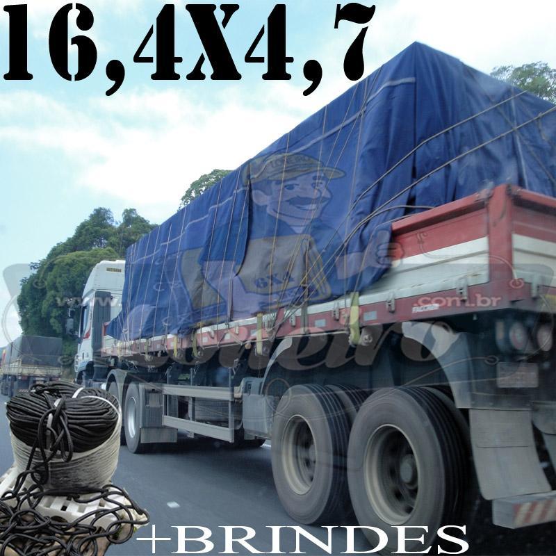 Lona: 16,4 x 4,7m Cotton Encerado RipStop Algodão Azul +Corda Preta 80m Poliéster Estática 10mm +80m Corda 8mm com 1 ROW 0,75m