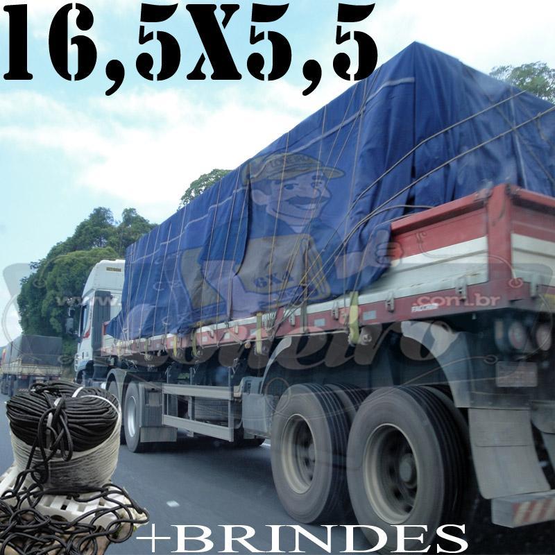 Lona: 16,5 x 5,5m Cotton Encerado RipStop Algodão Azul +Corda Preta 100m Poliéster Estática 10mm + 100m Corda 8mm com 1 ROW 0,75m
