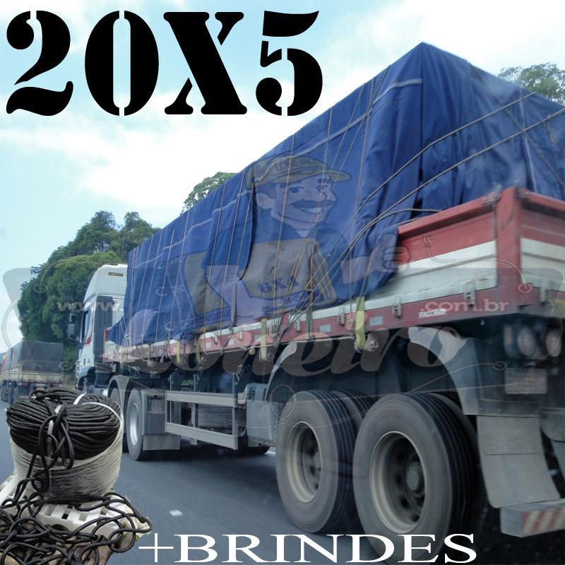 Lona: 20,0 x 5,0m Cotton Encerado RipStop Algodão Azul +Corda Preta 100m Poliéster Estática 10mm + 100m Corda 8mm com 1 ROW 0,75m