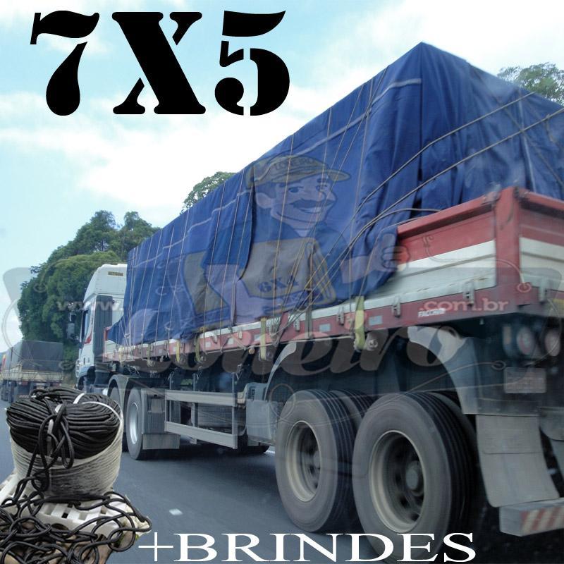 Lona 7,0 x 5,0m Encerado RipStop Coton Algodão Azul + Corda Preta 30m Poliéster Estática 10mm + 30m Corda 8mm com 1 ROW 0,75m