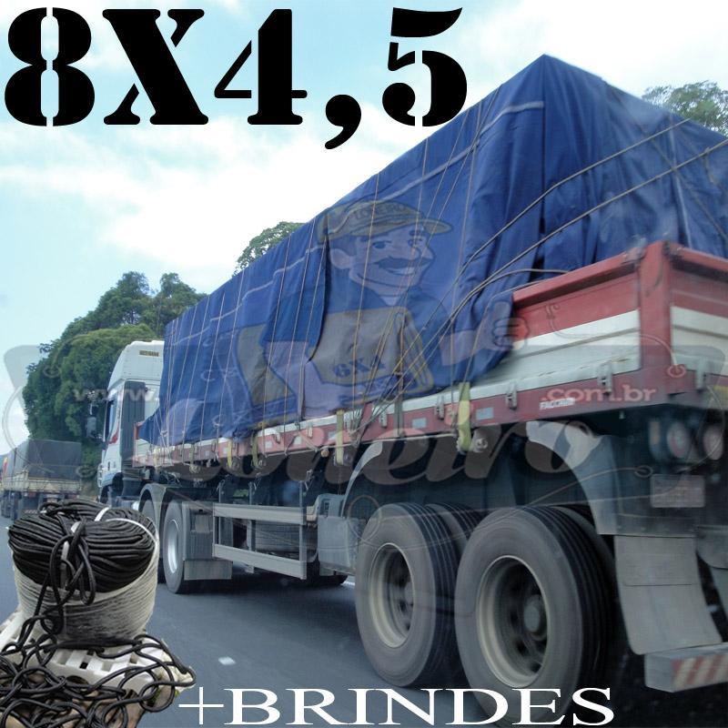 Lona 8,0 x 4,5m Cotton Encerado RipStop Algodão Azul + Corda Preta 40m Poliéster Estática 10mm + 40m Corda 8mm com 1 ROW 0,75m