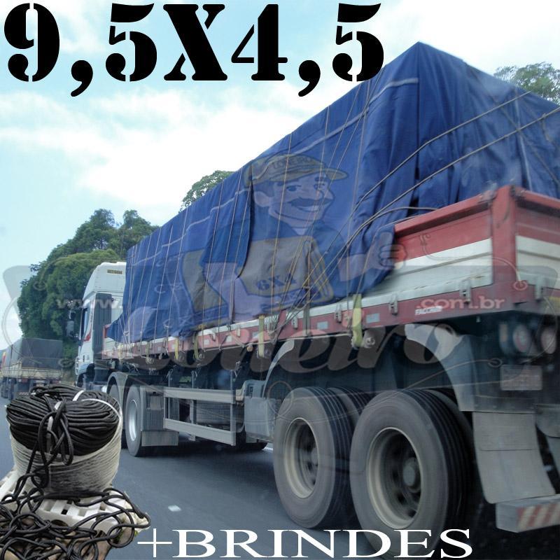 Lona 9,5 x 4,5m Cotton Encerado RipStop Algodão Azul + Corda Preta 50m Poliéster Estática 10mm + 50m Corda 8mm com 1 ROW 0,75m