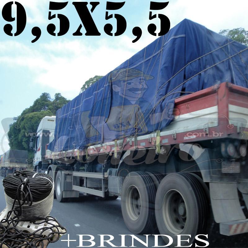Lona 9,5 x 5,5m Cotton Encerado RipStop Algodão Azul + Corda Preta 50m Poliéster Estática 10mm + 50m Corda 8mm com 1 ROW 0,75m