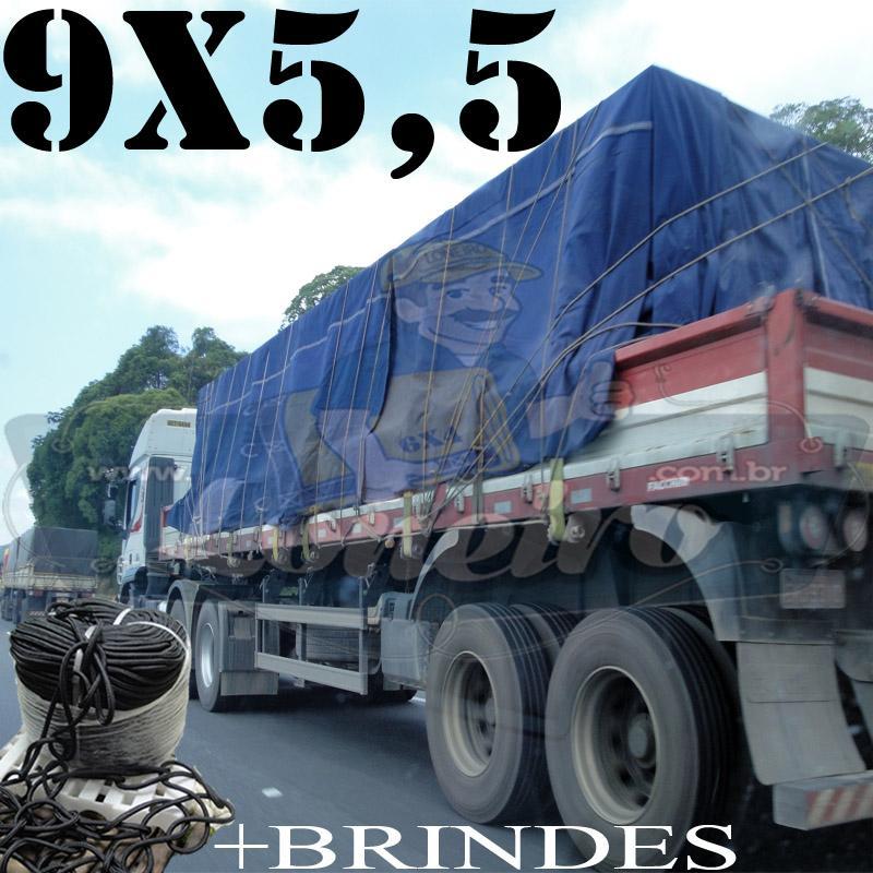 Lona 9,0 x 5,5m Cotton Encerado RipStop Algodão Azul + Corda Preta 50m Poliéster Estática 10mm + 50m Corda 8mm com 1 ROW 0,75m