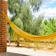 Rede de Descanso Amarela Artesanal com 4 metros Casal - Pernambucana Modelo de Franja Tradicional Feita em Algodão Tear