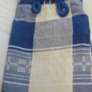 Rede de Descanso Azul Branca Xadrez Artesanal com 4 metros Casal - Pernambucana Modelo de Franja Tradicional Feita em Algodão Tear