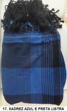 Rede de Descanso Azul e Preta Xadrez Artesanal com 4 metros Casal - Pernambucana Modelo de Franja Tradicional Feita em Algodão Tear