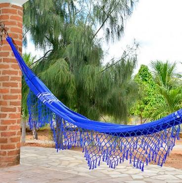 Rede de Descanso Azul Indigo Artesanal com 4 metros Casal - Pernambucana Modelo de Franja Tradicional Feita em Algodão Tear