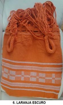 Rede de Descanso Laranja Artesanal com 4 metros Casal - Pernambucana Modelo de Franja Tradicional Feita em Algodão Tear