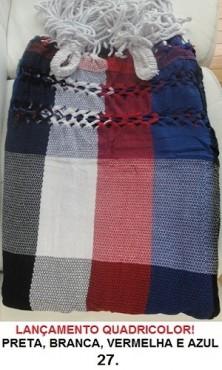 Rede de Descanso QuadriCor Preta Branca Vermelha e Azul Artesanal com 4 metros - Pernambucana Modelo de Franja Tradicional Feita em Algodão Tear