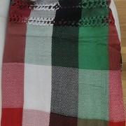 Rede de Descanso QuadriCor Vermelha Branca Preta e Verde Artesanal com 4 metros Casal - Pernambucana Modelo de Franja Tradicional Feita em Algodão Tear
