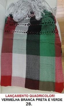 Rede de Descanso QuadriCor Vermelha Branca Preta e Verde Artesanal com 4 metros - Pernambucana Modelo de Franja Tradicional Feita em Algodão Tear