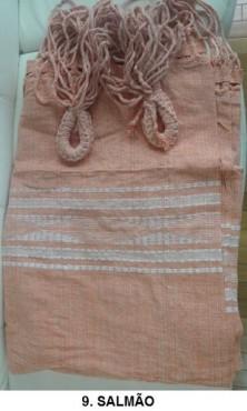 Rede de Descanso Salmão Artesanal com 4 metros Casal - Pernambucana Modelo de Franja Tradicional Feita em Algodão Tear