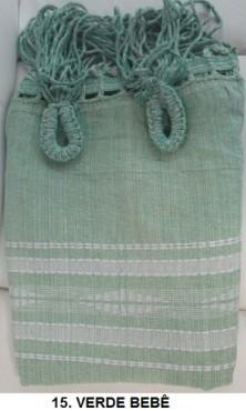 Rede de Descanso Verde Bebê Artesanal com 4 metros Casal - Pernambucana Modelo de Franja Tradicional Feita em Algodão Tear