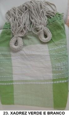 Rede de Descanso Verde Claro com Branco Xadrez Artesanal com 4 metros Casal - Pernambucana Modelo de Franja Tradicional Feita em Algodão Tear