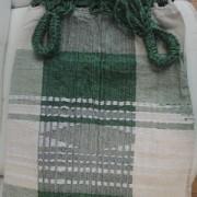 Rede de Descanso Verde Folha com Branco Xadrez Artesanal com 4 metros Casal - Pernambucana Modelo de Franja Tradicional Feita em Algodão Tear