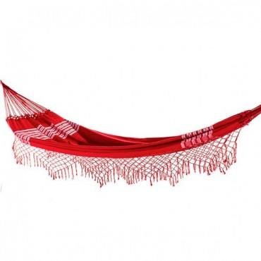 Rede de Descanso Vermelha Artesanal com 4 metros Casal - Pernambucana Modelo de Franja Tradicional Feita em Algodão Tear
