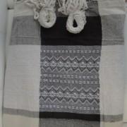 Rede de Descanso Preta com Branco Xadrez Artesanal com 4 metros Casal - Pernambucana Modelo de Franja Tradicional Feita em Algodão Tear