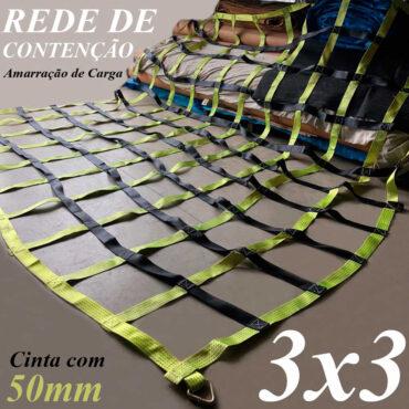 Cinta 50mm Poliéster Rede Contenção 3 x 3 M Loneiro Malha 25x25cm Capacidade 15 TON Amarração Proteção Carga Rodoviária Caminhão Utilitários