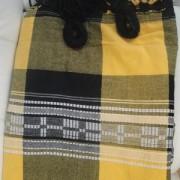 Rede de Descanso Amarela Xadrez Preta Artesanal com 4 metros Casal - Pernambucana Modelo de Franja Tradicional Feita em Algodão Tear