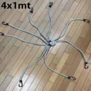 Corda Elástica Aranha 4 cordas de 1 metro ( 8 pernas ) x 10mm de Borracha Azul / Branco com gancho cabeça dupla bicromatizado nas pontas