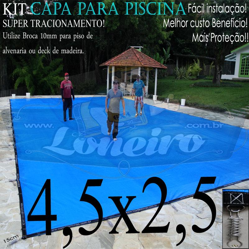 Capa para Piscina Super 4,5 x 2,5m Azul/Preto PP/PE Lona Térmica Premium +28m+28p+1b
