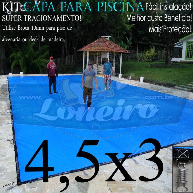 Capa para Piscina Super 4,5 x 3,0m Azul/Cinza PP/PE Lona Térmica Premium +30m+30p+1b