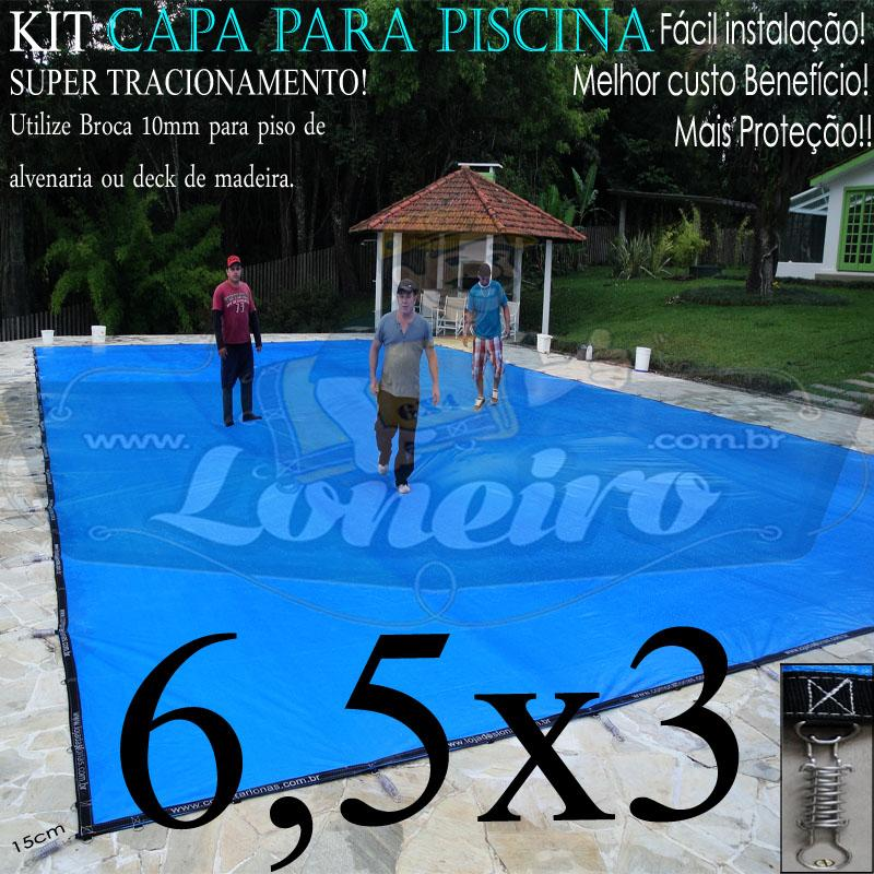 Capa para Piscina Super 6,5 x 3,0m Azul/Preto PP/PE Lona Térmica e de Segurança Premium +52m+52p+3b