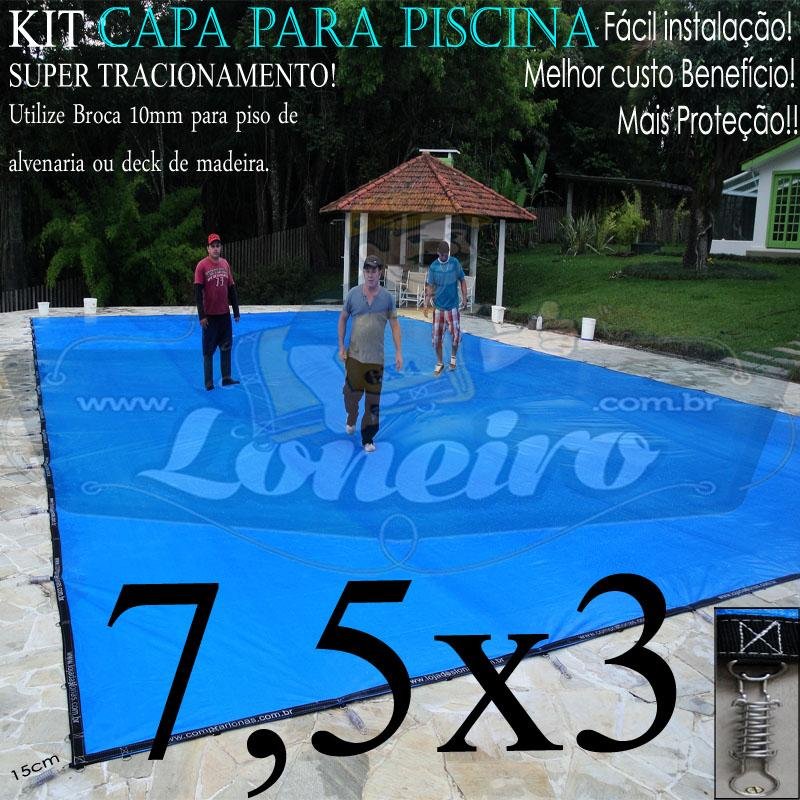 Capa para Piscina Super 7,5 x 3,0m PP/PE Azul-Preto Lona Térmica de Proteção +58m+58p+3b