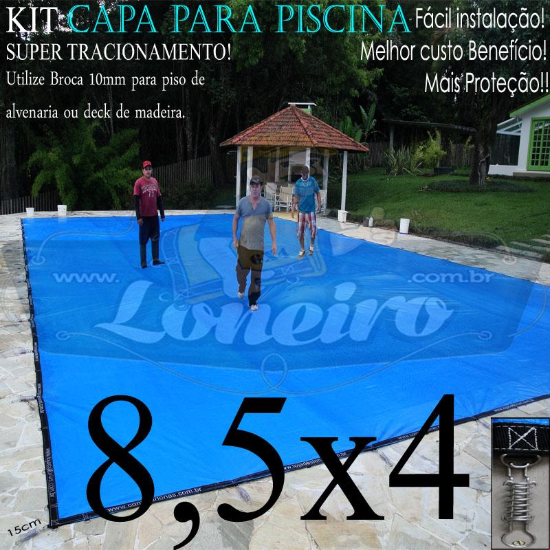 Capa para Piscina Super 8,5 x 4,0m PP/PE Azul-Preto Lona Térmica de Proteção e Segurança +66m+66p+3b