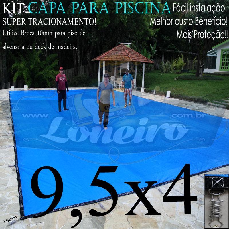 Capa para Piscina Super 9,5 x 4,0m PP/PE Lona Térmica de Proteção e Cobertura +70m+70p+3b