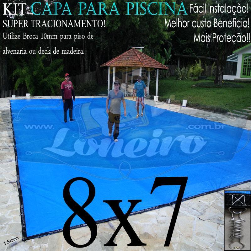 Capa para Piscina Super 8,0 x 7,0m PP/PE Azul/Cinza Chumbo Lona Térmica de Proteção +76m+76p+5b