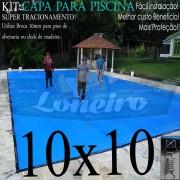 Capa para Piscina Super: 10,0 x 10,0m PE/PE Azul - Cinza Lona Térmica Cobertura Premium +96m+96p +10 pet bóias