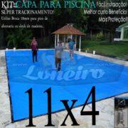 Capa para Piscina Super: 11,0 x 4,0m Azul/Cinza PP/PE Lona Térmica Premium Proteção e Segurança +60m+60p+5b