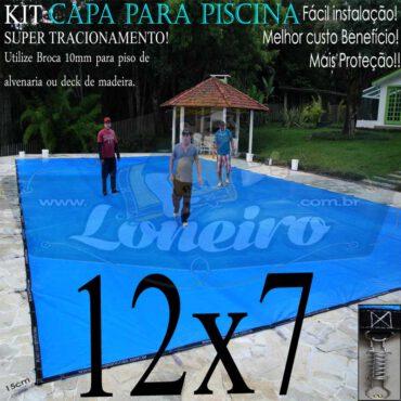 Capa para Piscina Super: 12,0 x 7,0m Azul/Cinza PP/PE Lona Térmica Premium Proteção e Segurança +76m+76p+5b