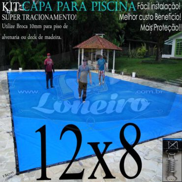 Capa para Piscina Super: 12,0 x 8,0m Azul/Cinza PP/PE Lona Térmica Premium Proteção e Segurança +80m+80p+5b