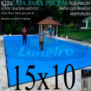 Capa para Piscina Super: 15,0 x 10,0m PE/PE Azul - Cinza Chumbo Lona Térmica Cobertura Premium +116m+116p + 16 pet-bóias
