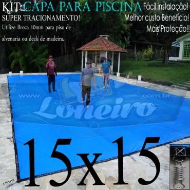 Capa para Piscina Super: 15,0 x 15,0m PE/PE Azul - Cinza Lona Térmica Cobertura Premium +136m+136p + 21 pet-bóias