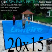 Capa para Piscina Super: 20,0 x 15,0m PE/PE Azul - Cinza Lona Térmica Cobertura Premium +156m+156p + 26 pet-bóias