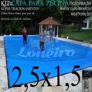 Capa para Piscina Super 2,5 x 1,5m PP/PE Azul-Cinza Lona Térmica Premium +32m+32p+1b
