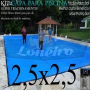 Capa para Piscina Super 2,5 x 2,5m Azul/Cinza PP/PE Lona Térmica Premium +36m+36p+1b
