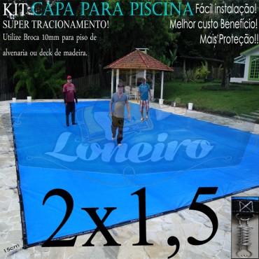 Capa para Piscina Super 2,0 x 1,5m Azul/Cinza PP/PE Lona Térmica Premium +30m+30p+ 1 pet-bóia solta