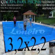 Capa para Piscina Super 3,2 x 2,2m Azul/Cinza PP/PE Lona Térmica Premium de Proteção e Segurança para Crianças Animais Pessoas com +24m+24p+1b