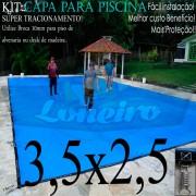 Capa para Piscina Super 3,5 x 2,5m Azul/Cinza PP/PE Lona Térmica Premium +40m+40p+1b